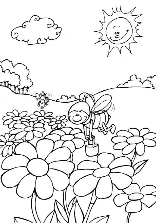 Bees and Flowers Coloring Page