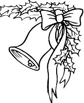 Bell, Bow And Holly Coloring Page
