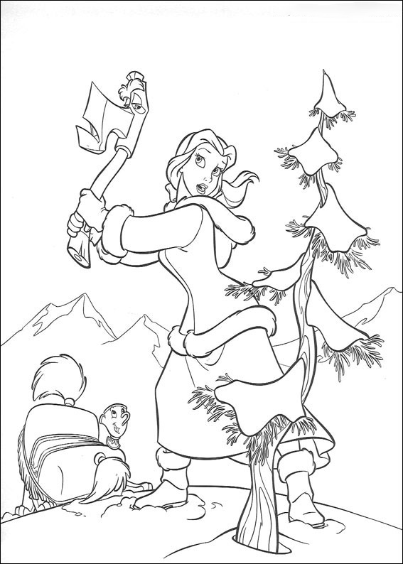 Belle is chopping down tree Coloring Page