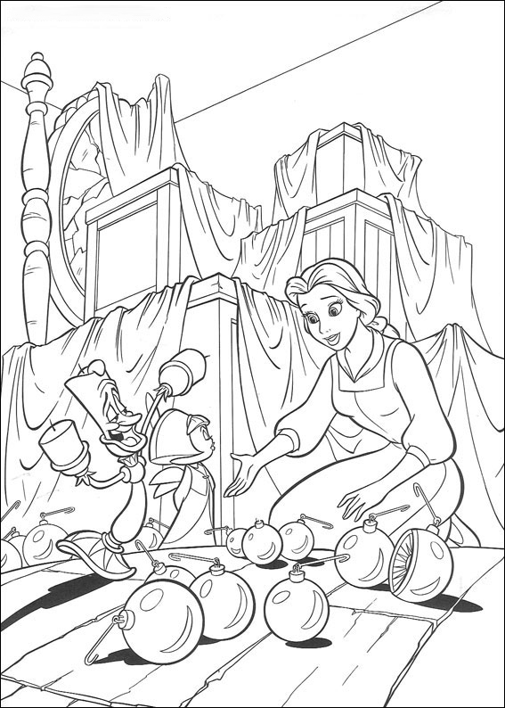 Belle is playing ball Coloring Pages