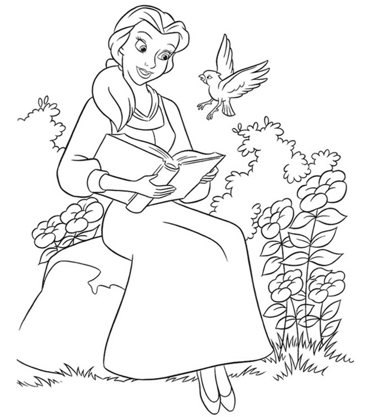 Belle is reading book Coloring Page