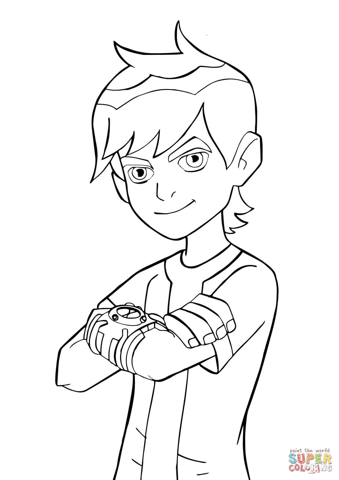Ben 10 with Omnitrix from Ben 10 Coloring Page - Free ...