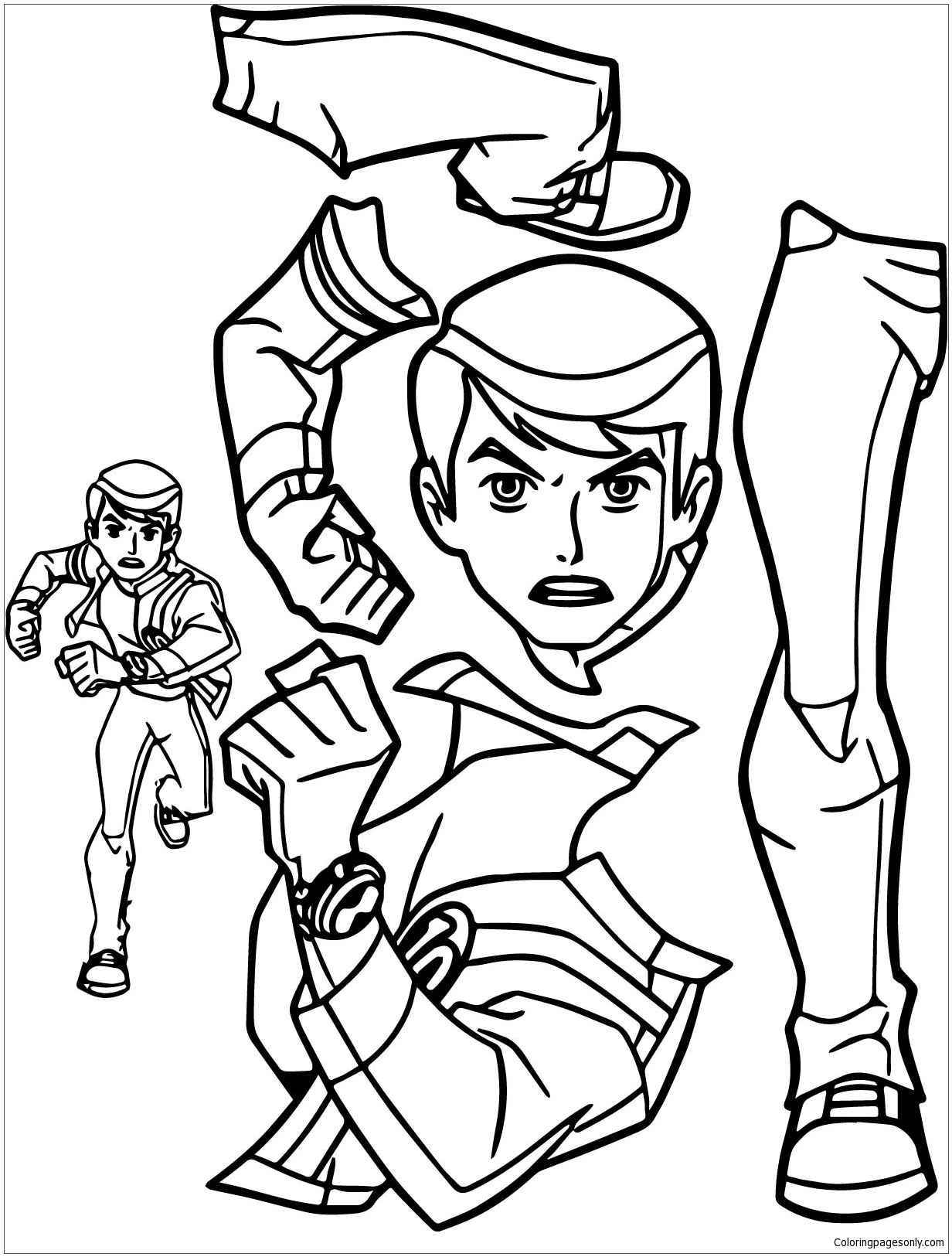 BenTen Alien Force Giant Part Coloring Page - Free Coloring ...