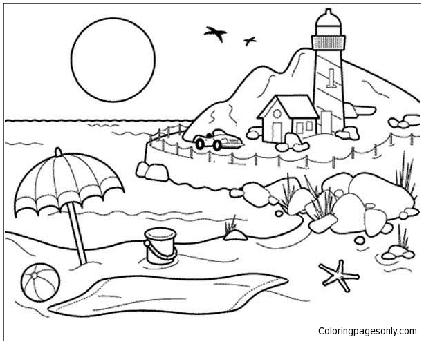 Best Beach Coloring Page