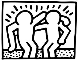Best Buddies by Keith Haring Coloring Page
