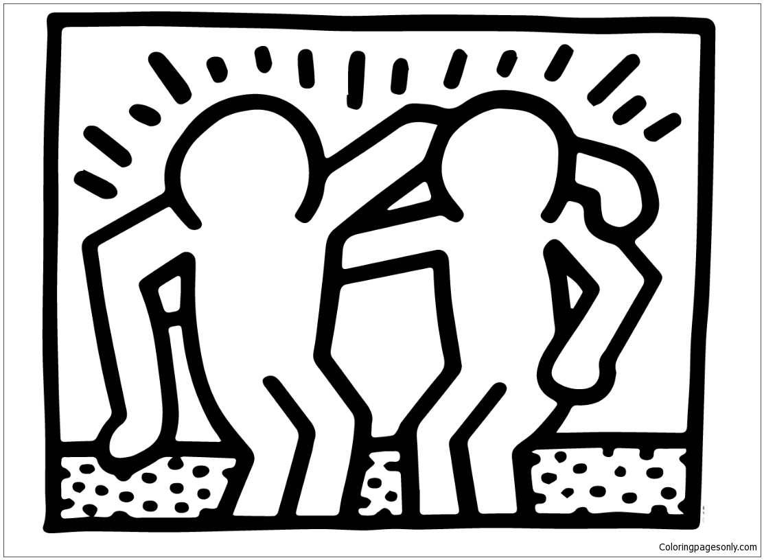 Best Buddies by Keith Haring Coloring Page Free Coloring
