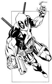Best Deadpool With Gun And Grenade Coloring Page