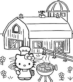 Hello Kitty Cooking 1 Coloring Page