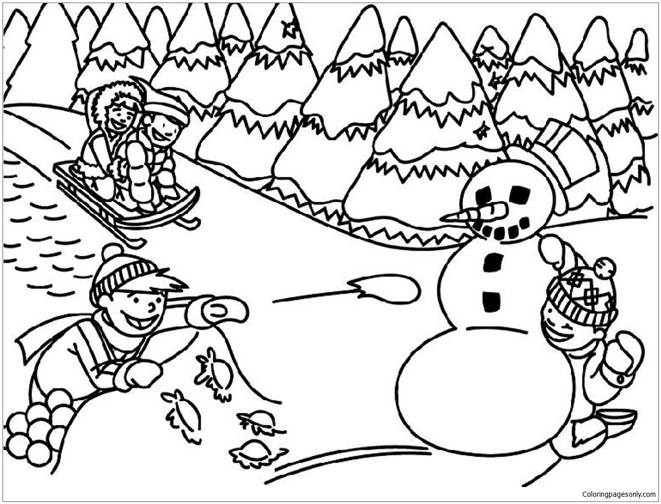 Best Kids Playing In Winter Coloring Page