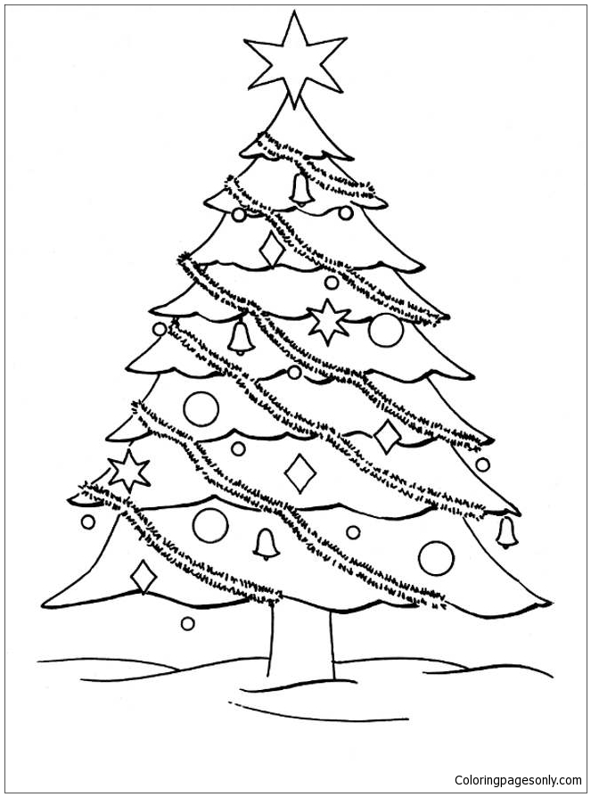Big Christmas Tree Coloring Page