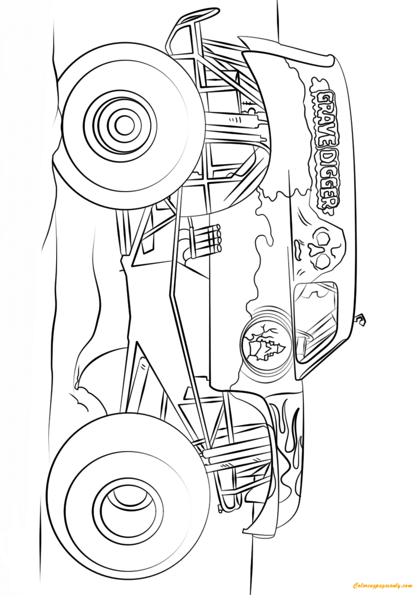 big grave digger monster truck coloring page