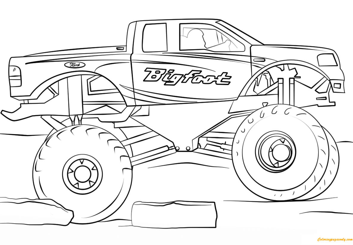 bigfoot monster truck coloring page  free coloring pages