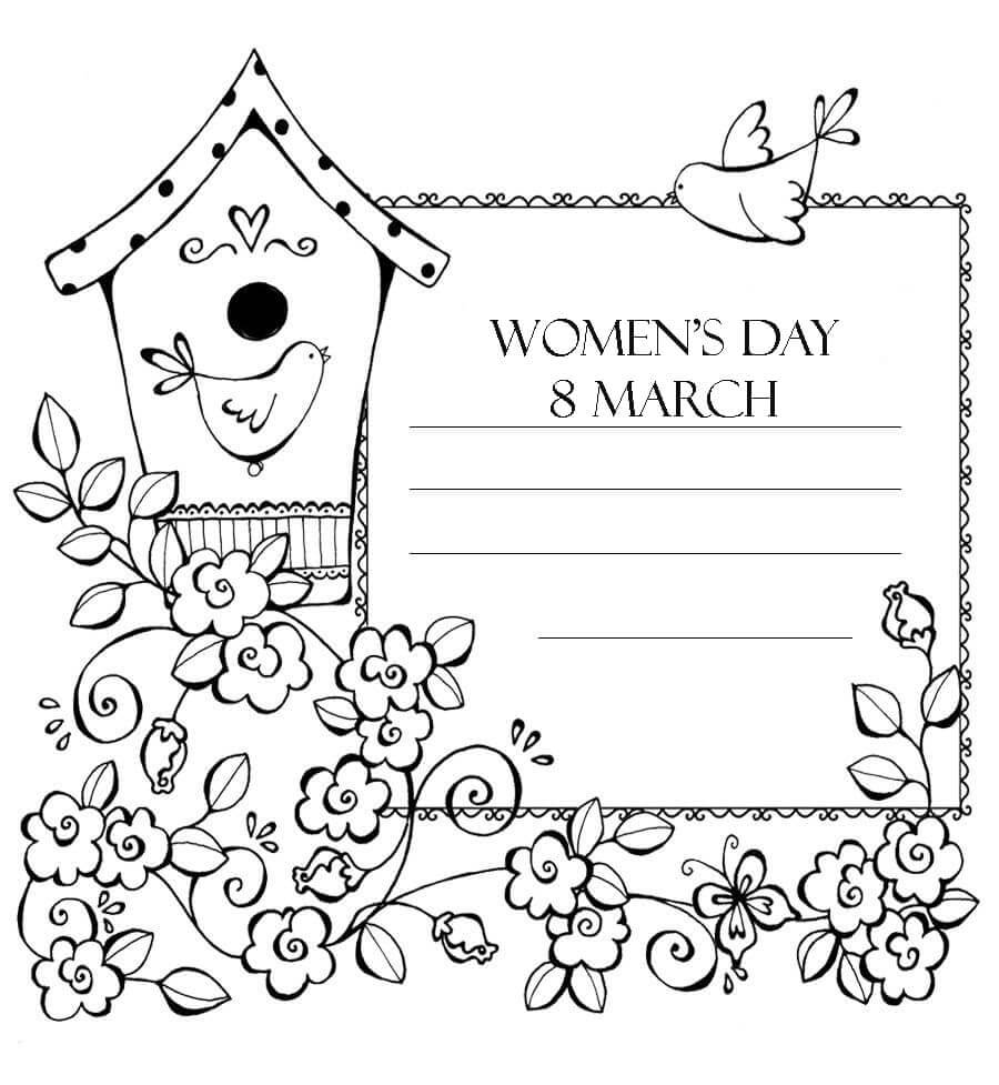 Birdhouse and Womens Day Coloring Page