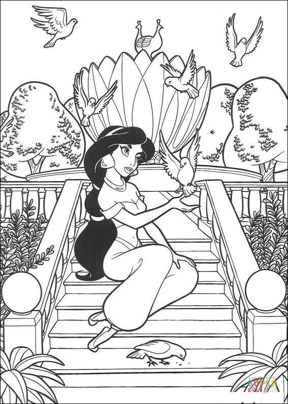Birds Play With Jasmine  from Aladdin Coloring Pages