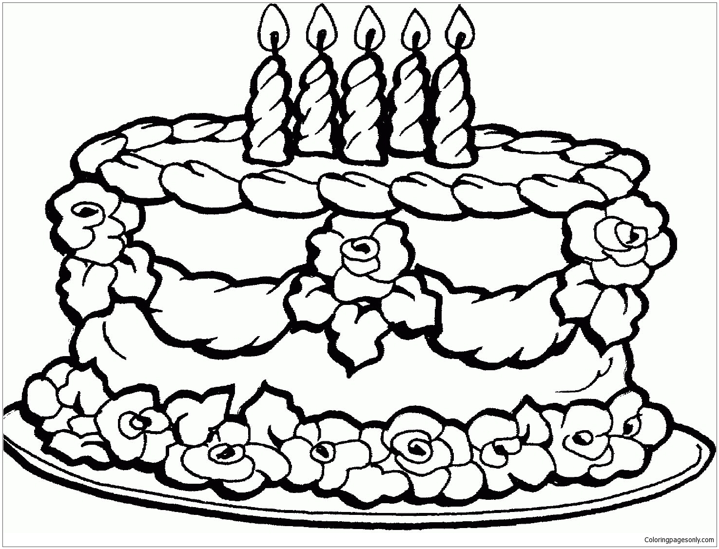 Birthday Cake 1 Coloring Page - Free Coloring Pages Online
