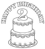 Birthday Cake 4 Coloring Page