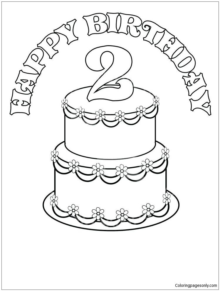 Birthday Cake 4 Coloring Pages - Food Coloring Pages - Free Printable  Coloring Pages Online