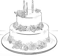 Birthday Cake With Roses Coloring Page