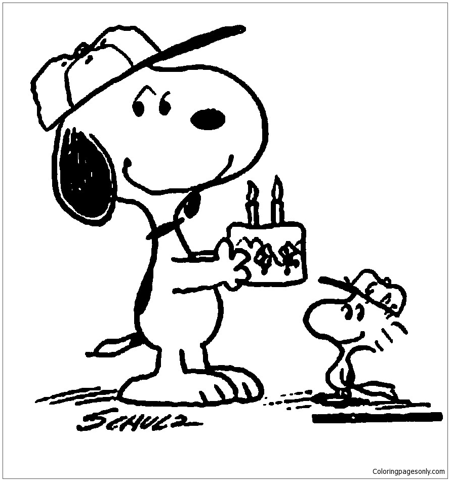 Birthday Snoopy Coloring Page Free Coloring Pages Online