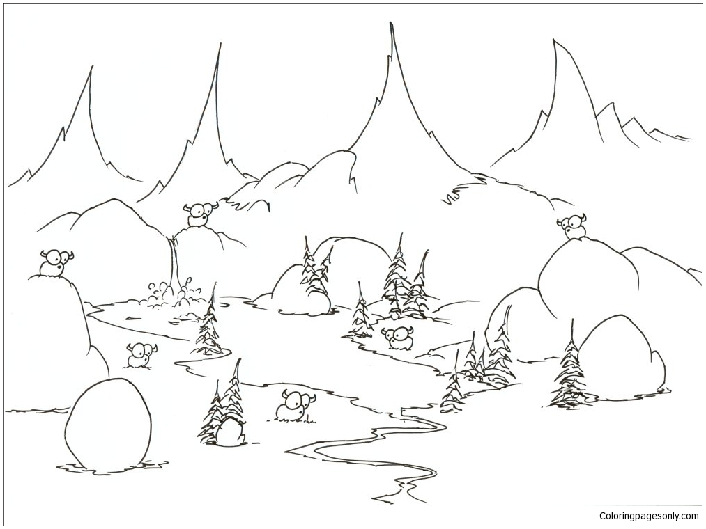 Bison Grazing In A Meadow Coloring Page