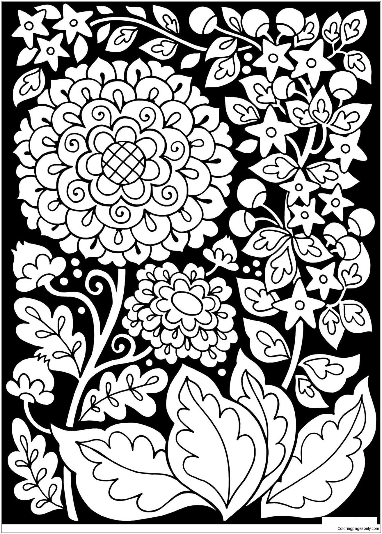 Black Background With Flowers Coloring Page - Free Coloring Pages Online