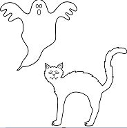 Black Cat Halloween Coloring Page