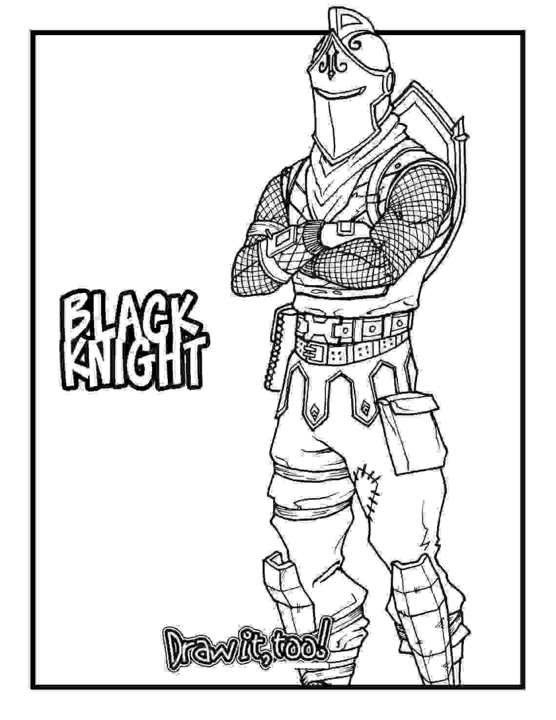 Black Knight is a Legendary Outfit for Battle Royale in Fortnite Coloring Page