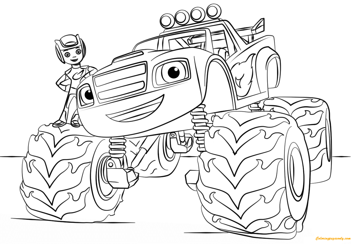 Blaze from monster truck coloring page free coloring for Disegni da colorare blaze