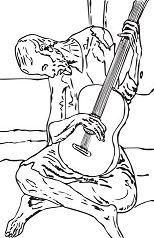 Blue Guitar By Pablo Picasso Coloring Page