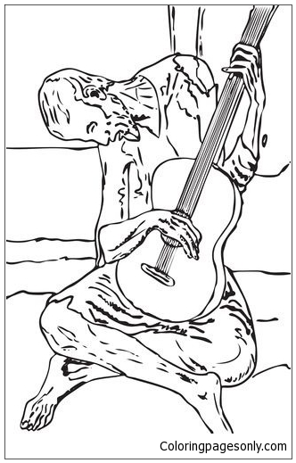 Blue Guitar By Pablo Picasso Coloring Pages