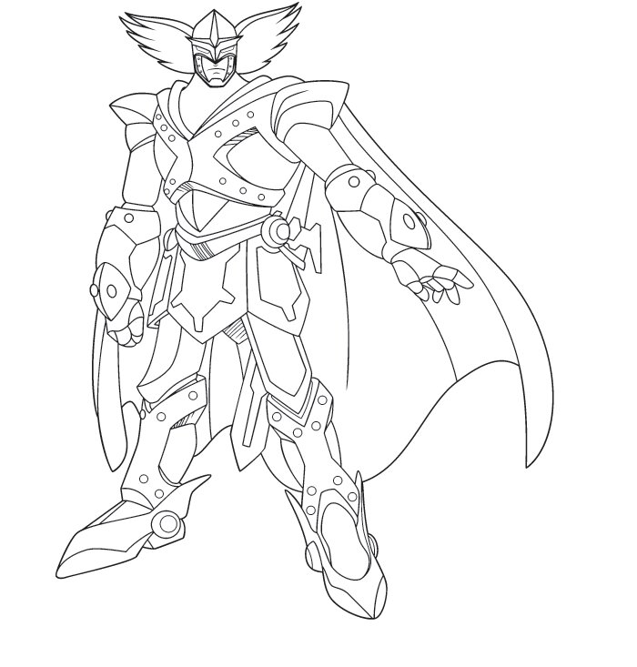 Blue Knight is a handsome young robot adult in Astro Boy Coloring Page
