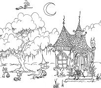 Bluebison Creatures Trick-or-treating Coloring Page