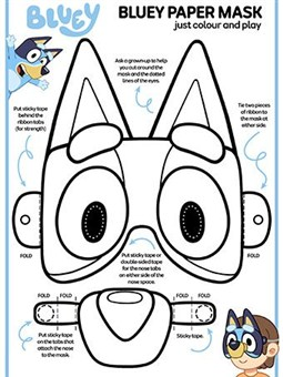 Bluey Paper Mask Character Coloring Page
