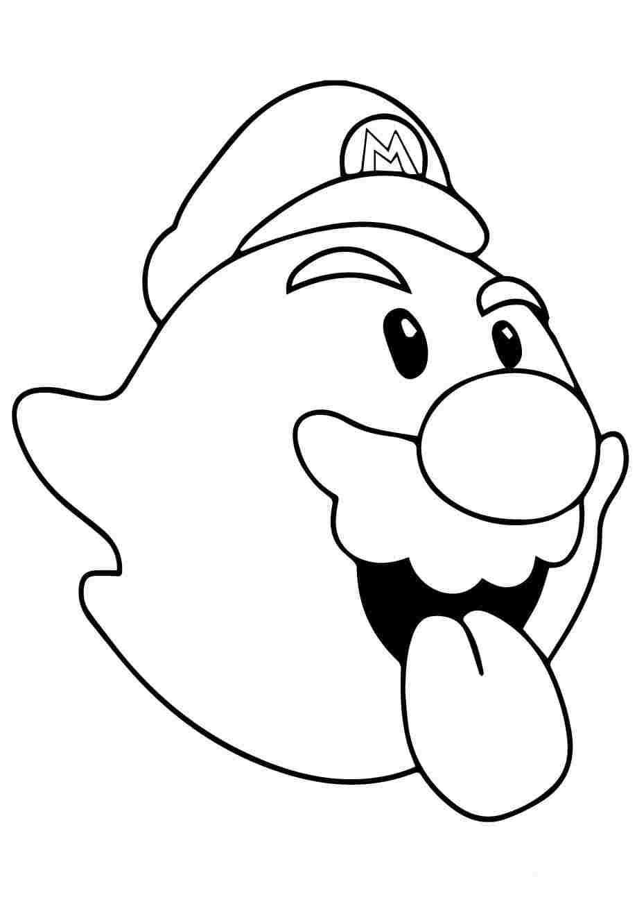 Boo is an enemy of Mario in Super Mario Bros Coloring Page