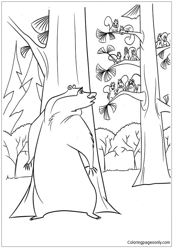 Boog Is Hiding Behind The Tree Coloring Page