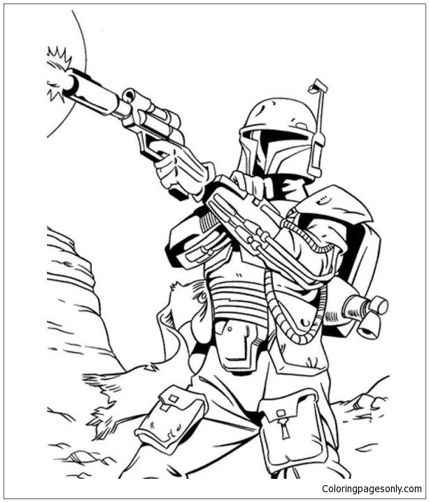 Bounty Hunter From Star Wars Coloring Pages - Cartoons Coloring Pages - Coloring  Pages For Kids And Adults