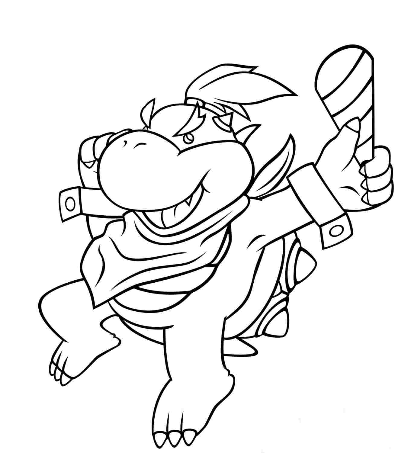 Bowser Jr. is holding torch Coloring Page