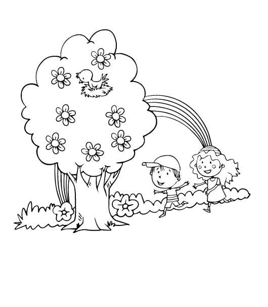 Boy and Girl Playing Time Coloring Page