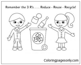 Boy And Girl Recycling Coloring Page