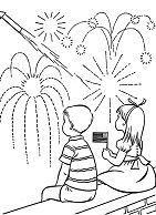 Boy And Girl Watching Fireworks