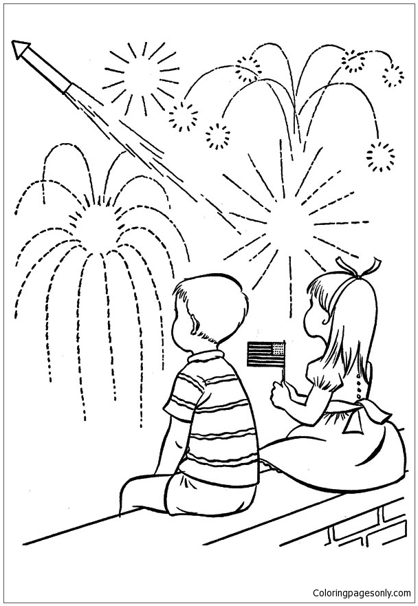 Boy And Girl Watching Fireworks Coloring Page