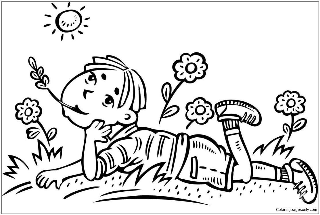 Boy And Sun On A Field Coloring Page Free Coloring Pages Online Coloring Page Boy And