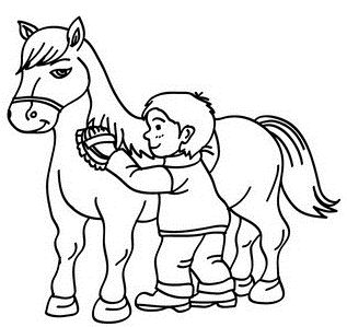 Boy Brushing His Horse
