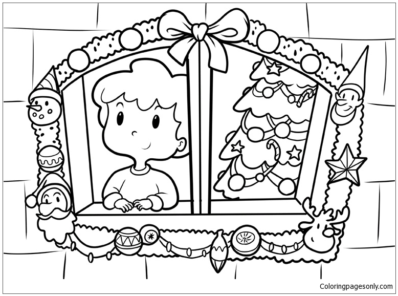 Boy Celebrating Christmas Looks Through The Window Coloring Page