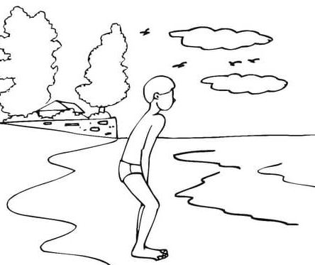 Boy Go Swimming In The Cold Weather Coloring Page