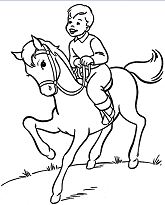 Boy is riding his horse