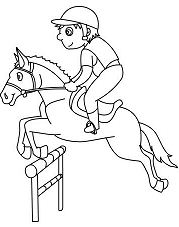 Boy On Jumping Horse Coloring Page