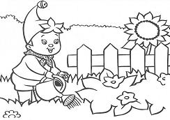 Boy Watering Plants On Patio Flowers In The Garden Coloring Page