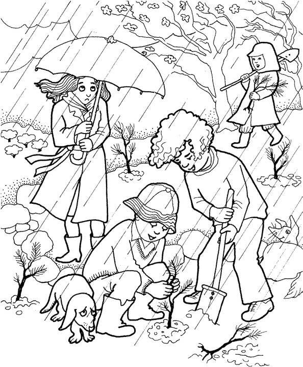 boys planting trees - Spring Garden Coloring Pages