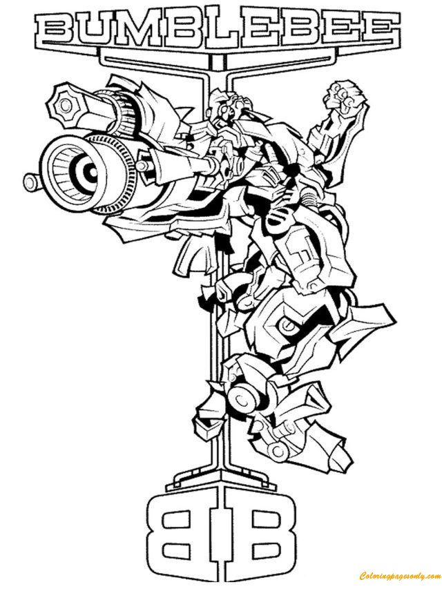 Brave Bumblebee From Transformers Coloring Page